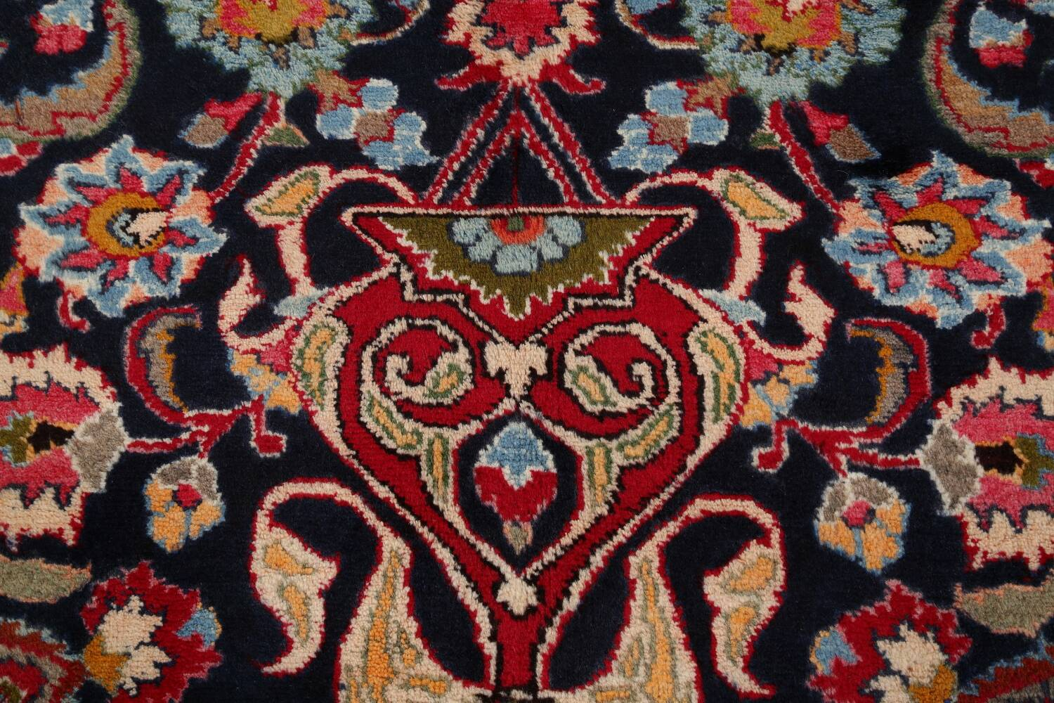Navy Blue Floral Mashad Persian Area Rug 9x13 image 11