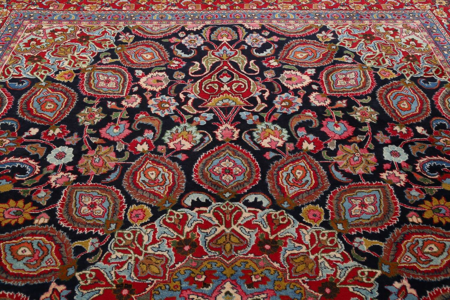 Navy Blue Floral Mashad Persian Area Rug 9x13 image 13