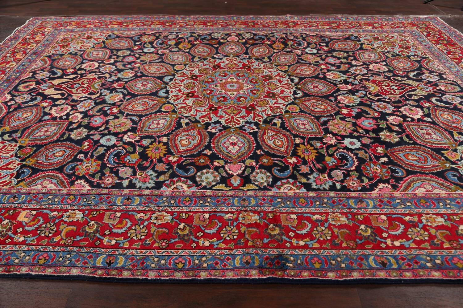 Navy Blue Floral Mashad Persian Area Rug 9x13 image 15