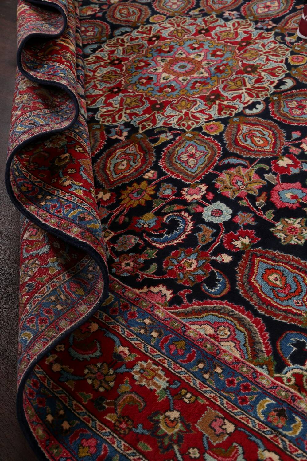 Navy Blue Floral Mashad Persian Area Rug 9x13 image 18