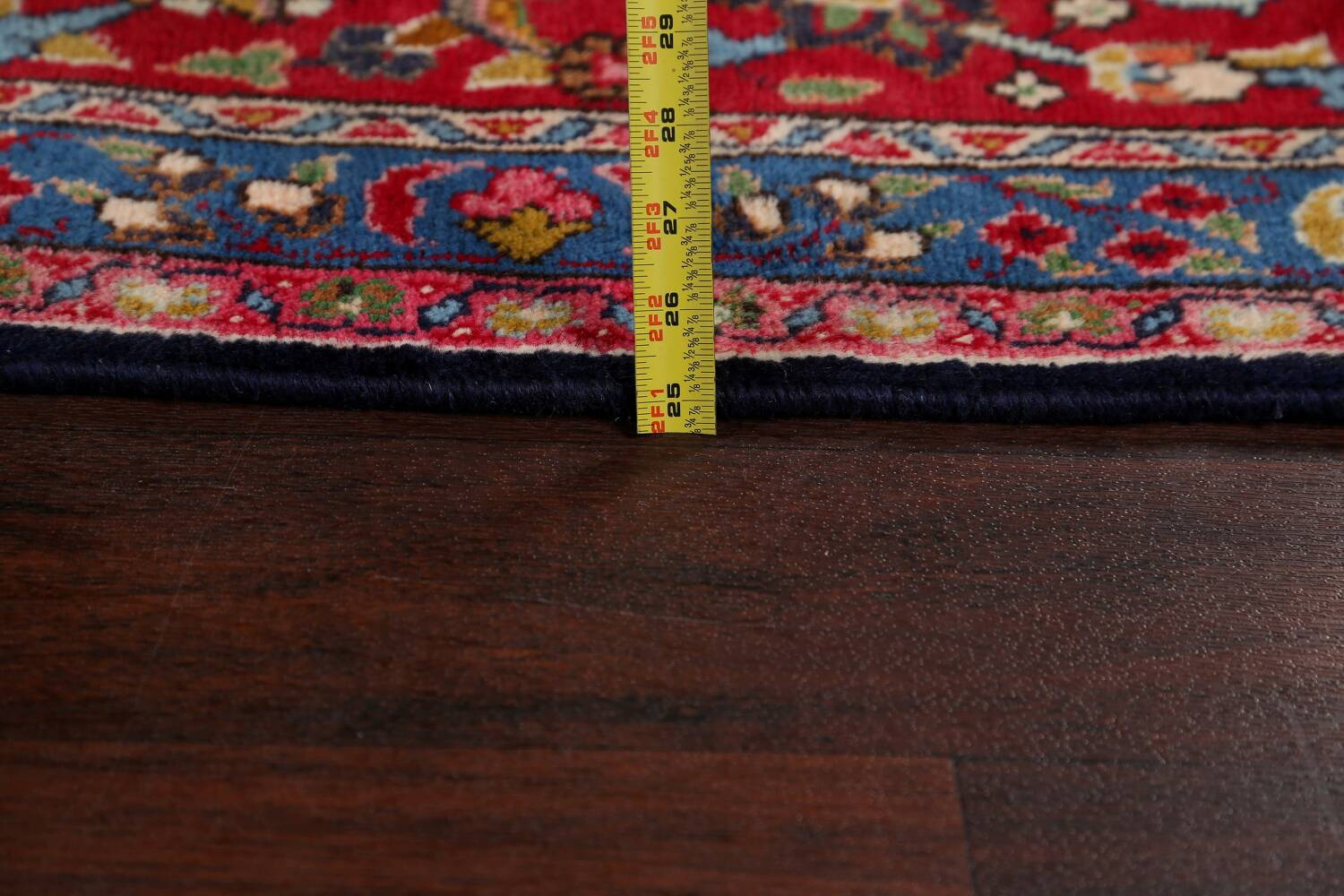 Navy Blue Floral Mashad Persian Area Rug 9x13 image 19