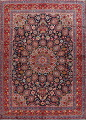 Navy Blue Floral Mashad Persian Area Rug 9x13 image 1