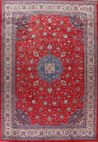 Vintage Red Floral Sarouk Persian Rug 11x16 Large