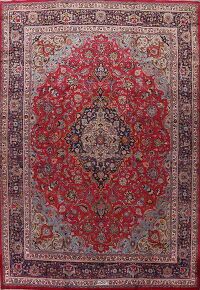 Vintage Floral Red Mashad Persian Area Rug 10x14