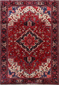 Geometric Red Heriz Persian Area Rug 8x12