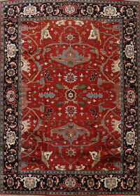 Large All-Over Red Heriz Serapi Oriental Rug 12x15