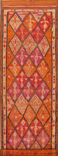 Antique Geometric Moroccan Oriental Runner Rug 3x14