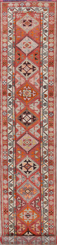 Geometric Oushak Turkish Oriental Runner Rug 3x19