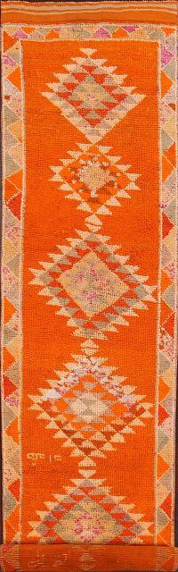 Vintage Orange Geometric Moroccan Runner Rug 3x14