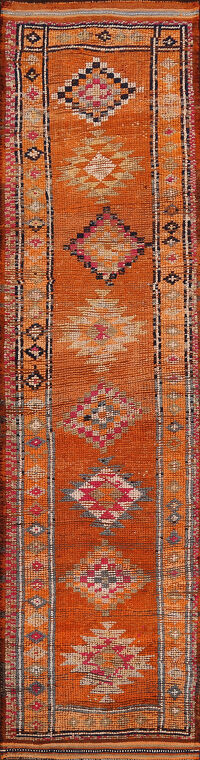 Orange Geometric Moroccan Oriental Runner Rug 3x11