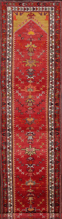 Tribal Red Oushak Turkish Runner Rug 3x12