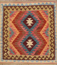 South-Western Kilim Oriental Area Rug 3x3 Square