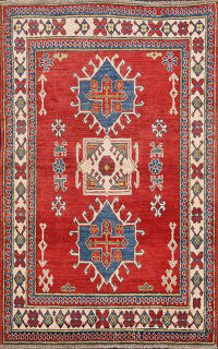Red Geometric Kazak Oriental Area Rug 4x5
