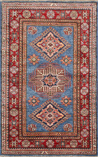 Blue Vegetable Dye Super Kazak Oriental Rug 3x5