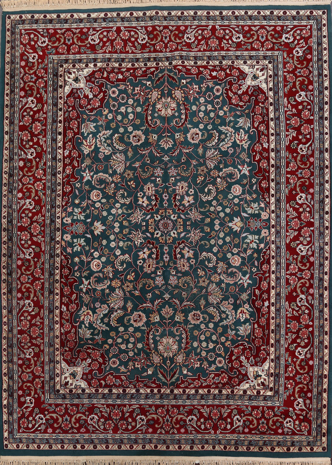 Floral Green Aubusson Oriental Area Rug 8x10 image 1