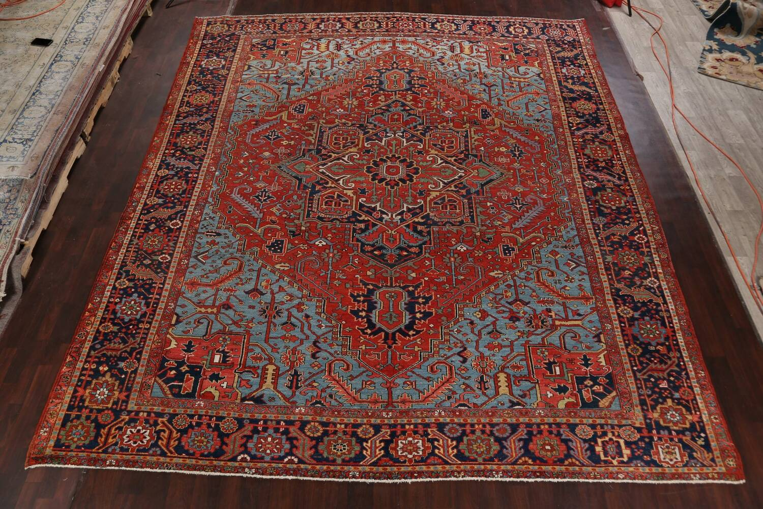 Pre-1900 Antique Vegetable Dye Heriz Serapi Persian Rug 12x14 image 2