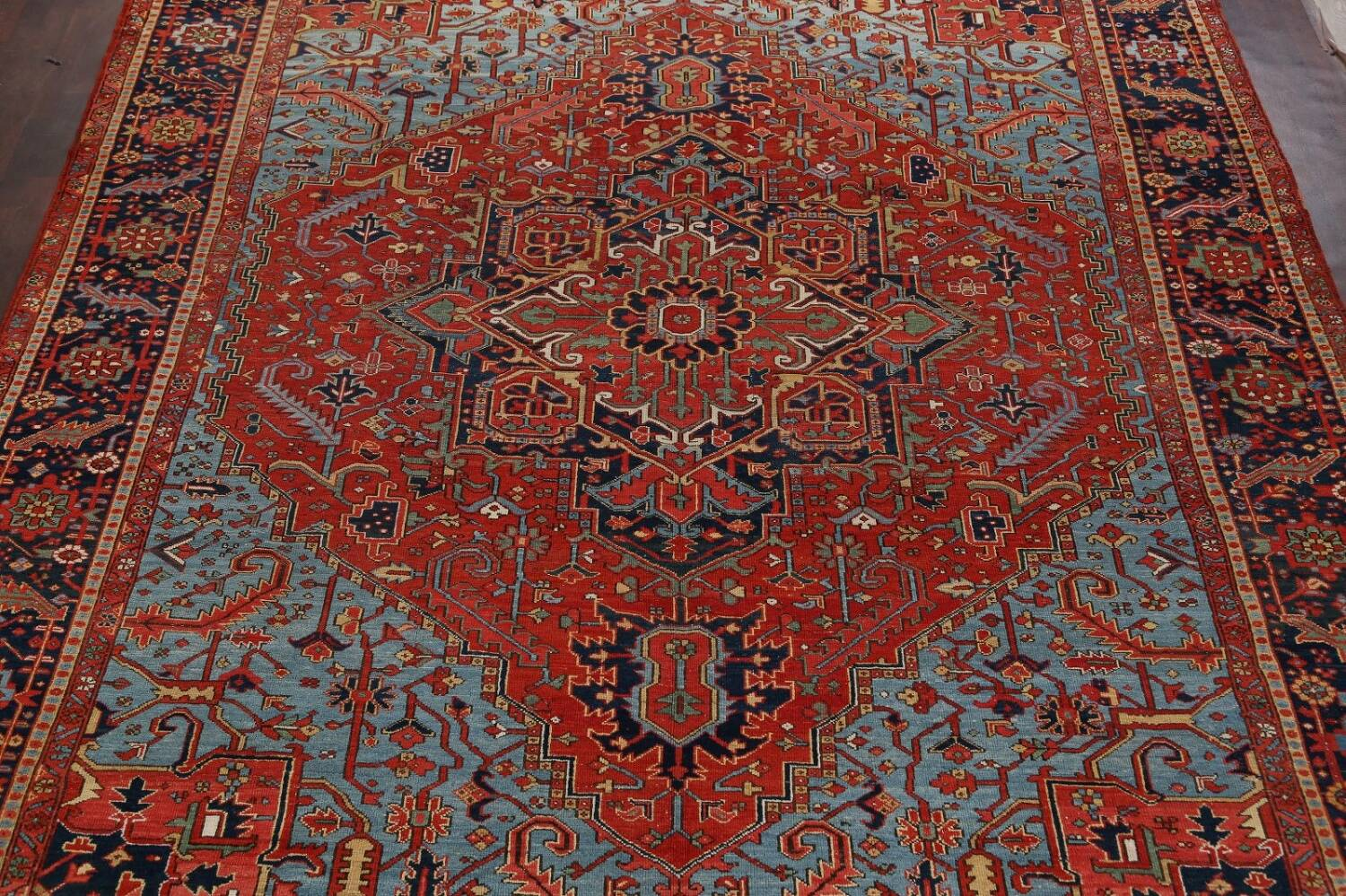 Pre-1900 Antique Vegetable Dye Heriz Serapi Persian Rug 12x14 image 3