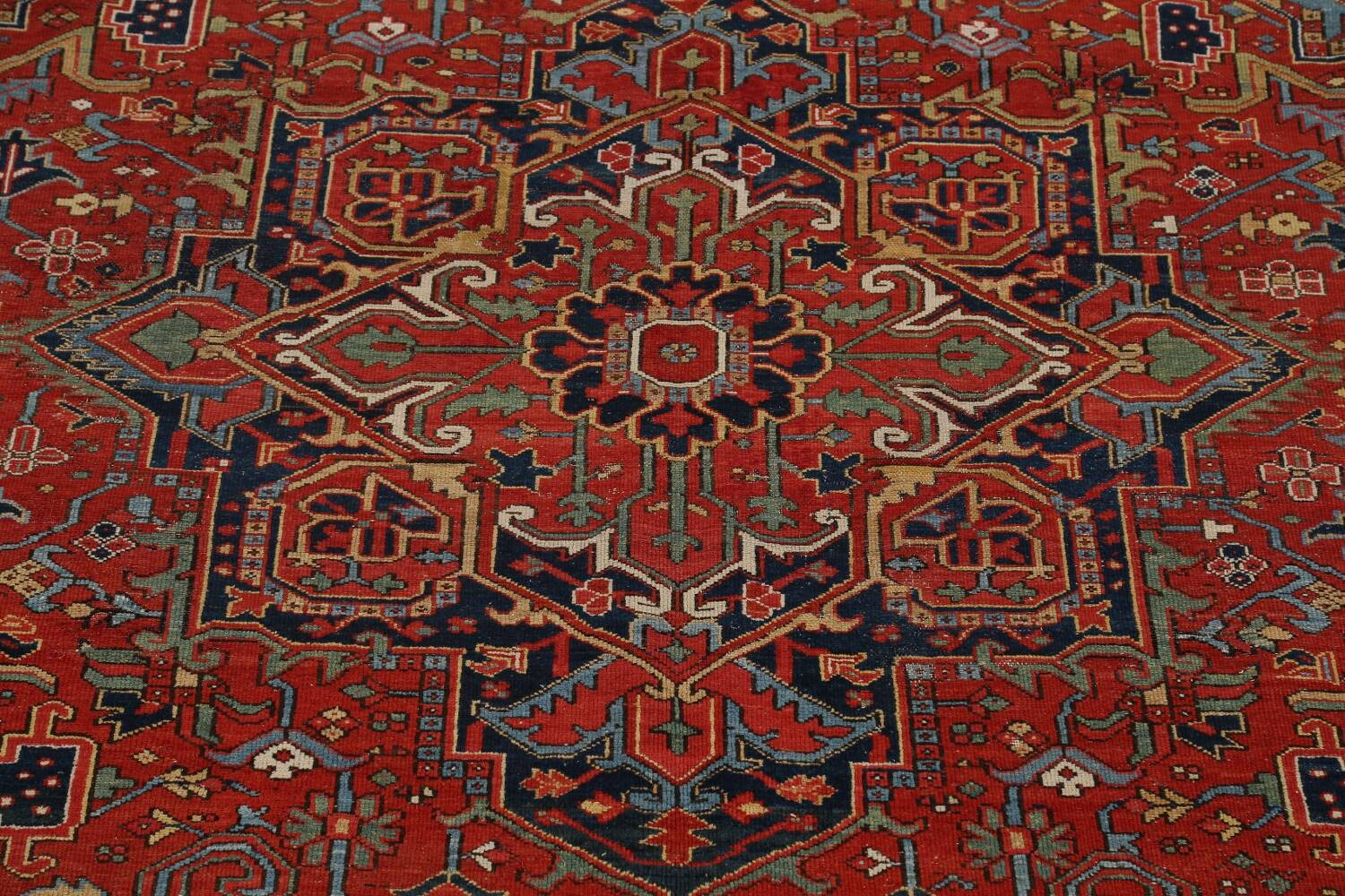 Pre-1900 Antique Vegetable Dye Heriz Serapi Persian Rug 12x14 image 4