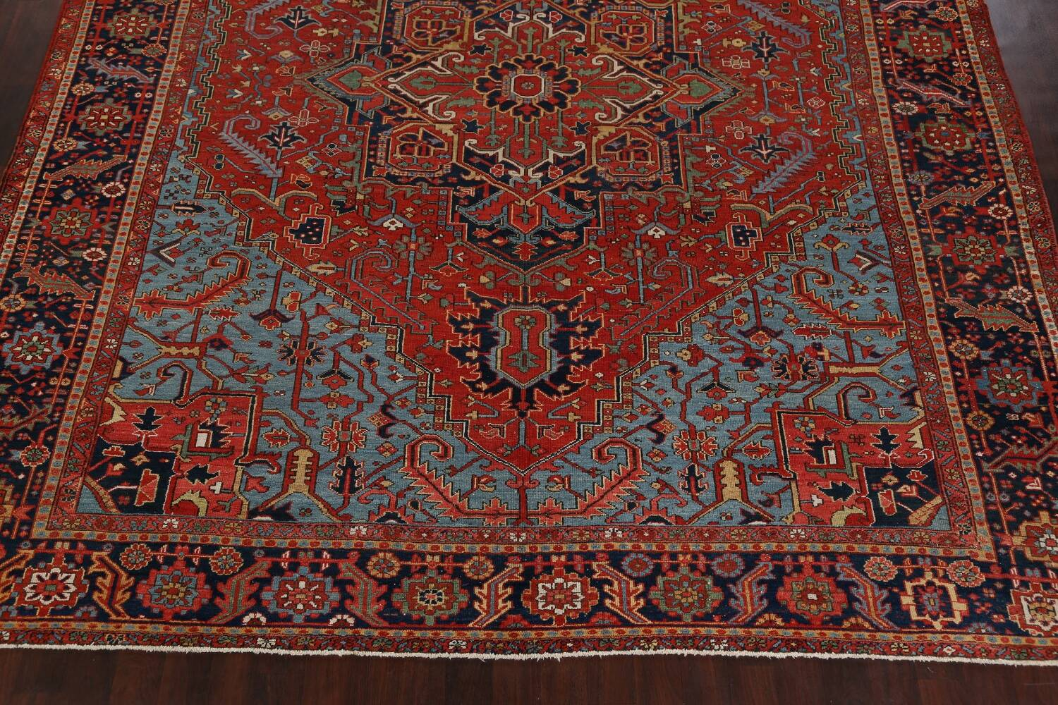 Pre-1900 Antique Vegetable Dye Heriz Serapi Persian Rug 12x14 image 8