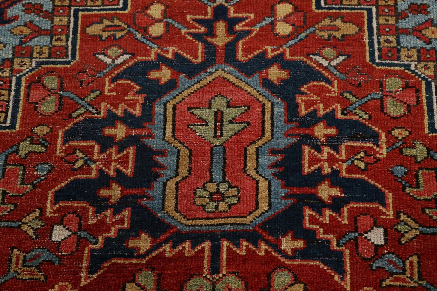 Pre-1900 Antique Vegetable Dye Heriz Serapi Persian Rug 12x14 image 11