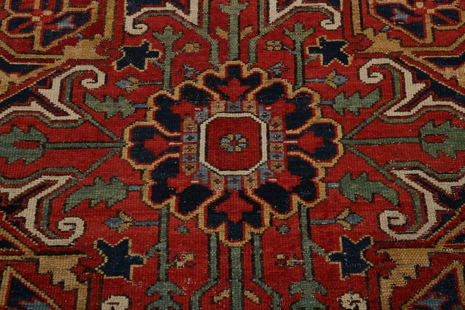 Pre-1900 Antique Vegetable Dye Heriz Serapi Persian Rug 12x14 image 13