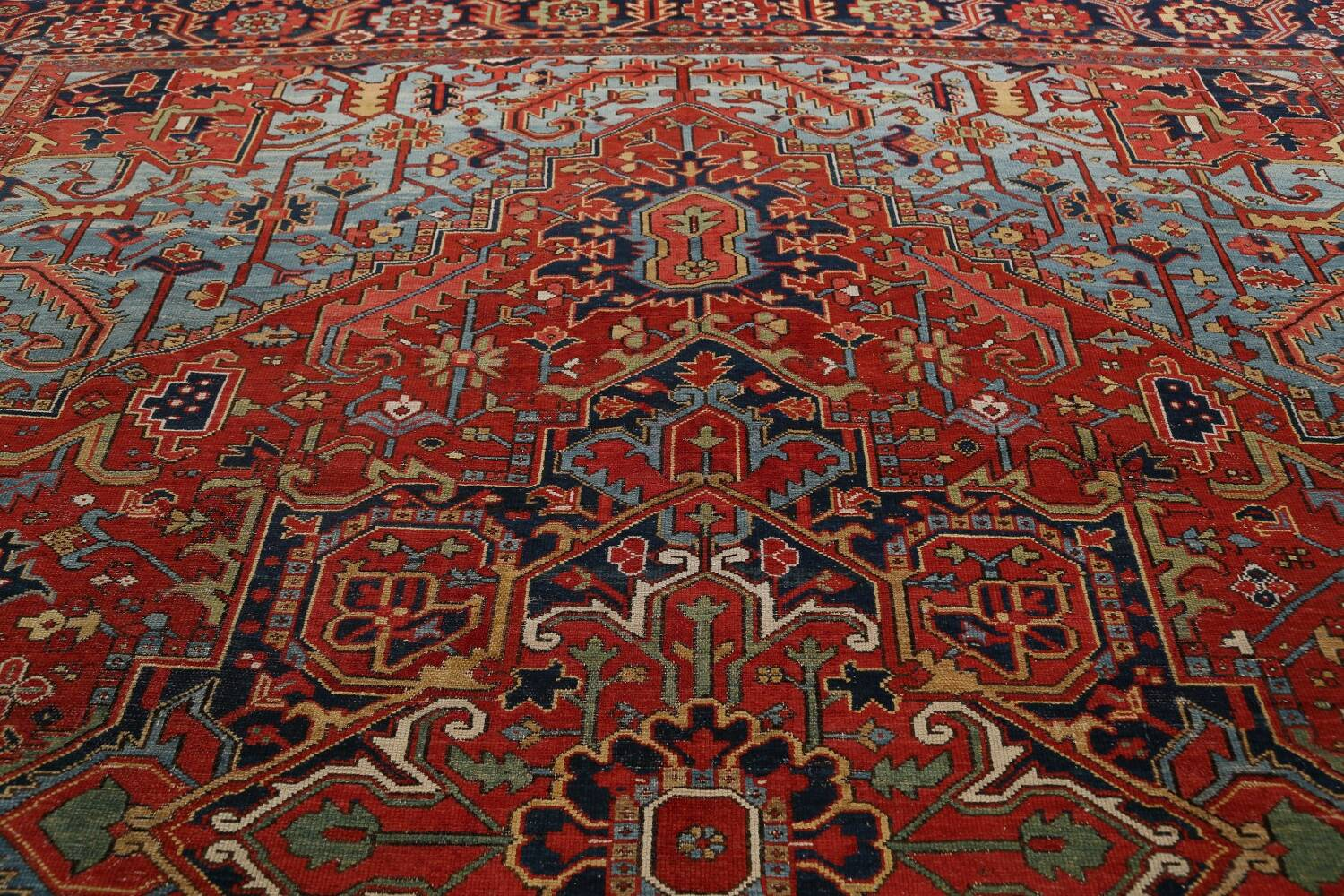 Pre-1900 Antique Vegetable Dye Heriz Serapi Persian Rug 12x14 image 14