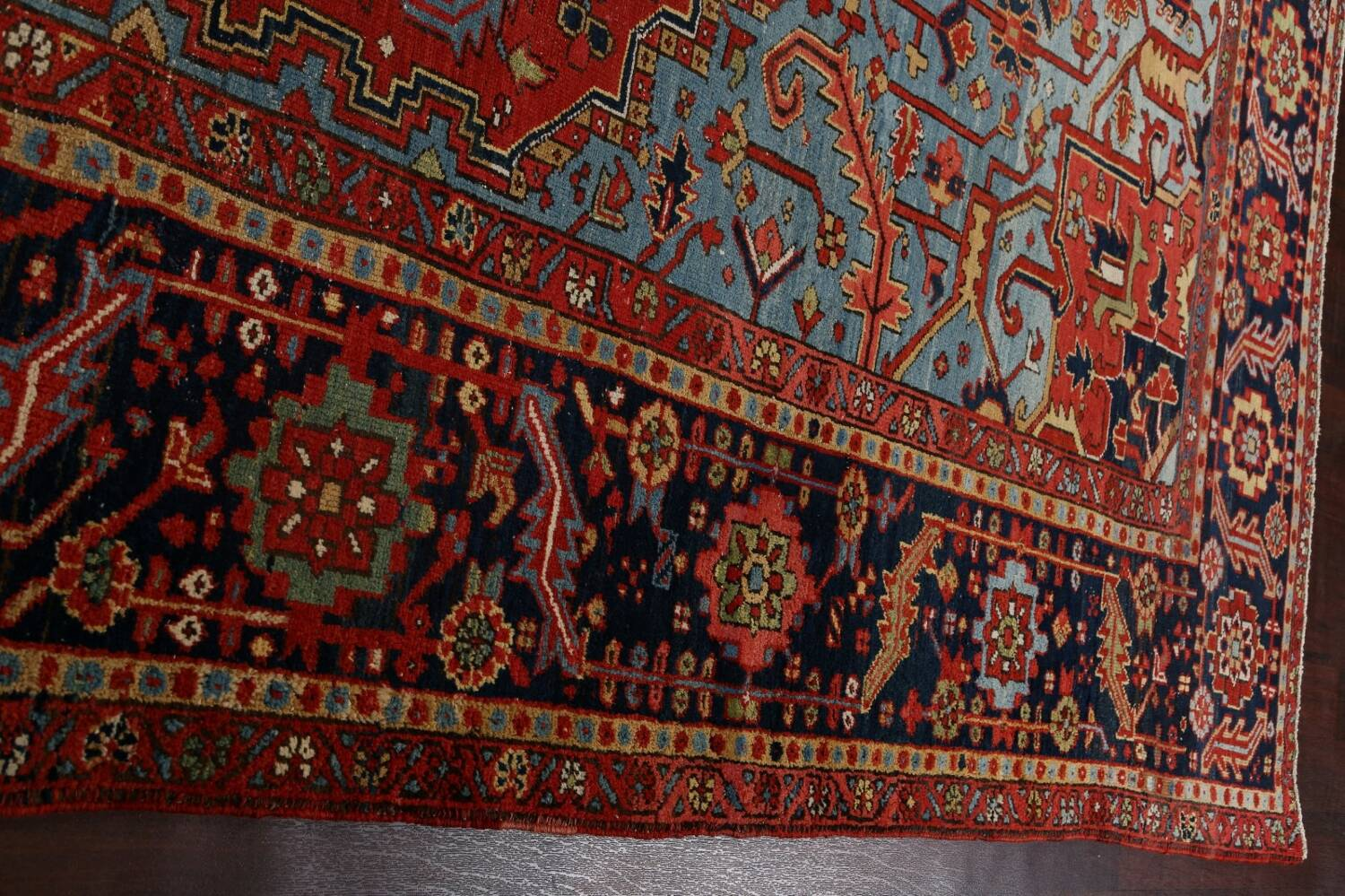 Pre-1900 Antique Vegetable Dye Heriz Serapi Persian Rug 12x14 image 15