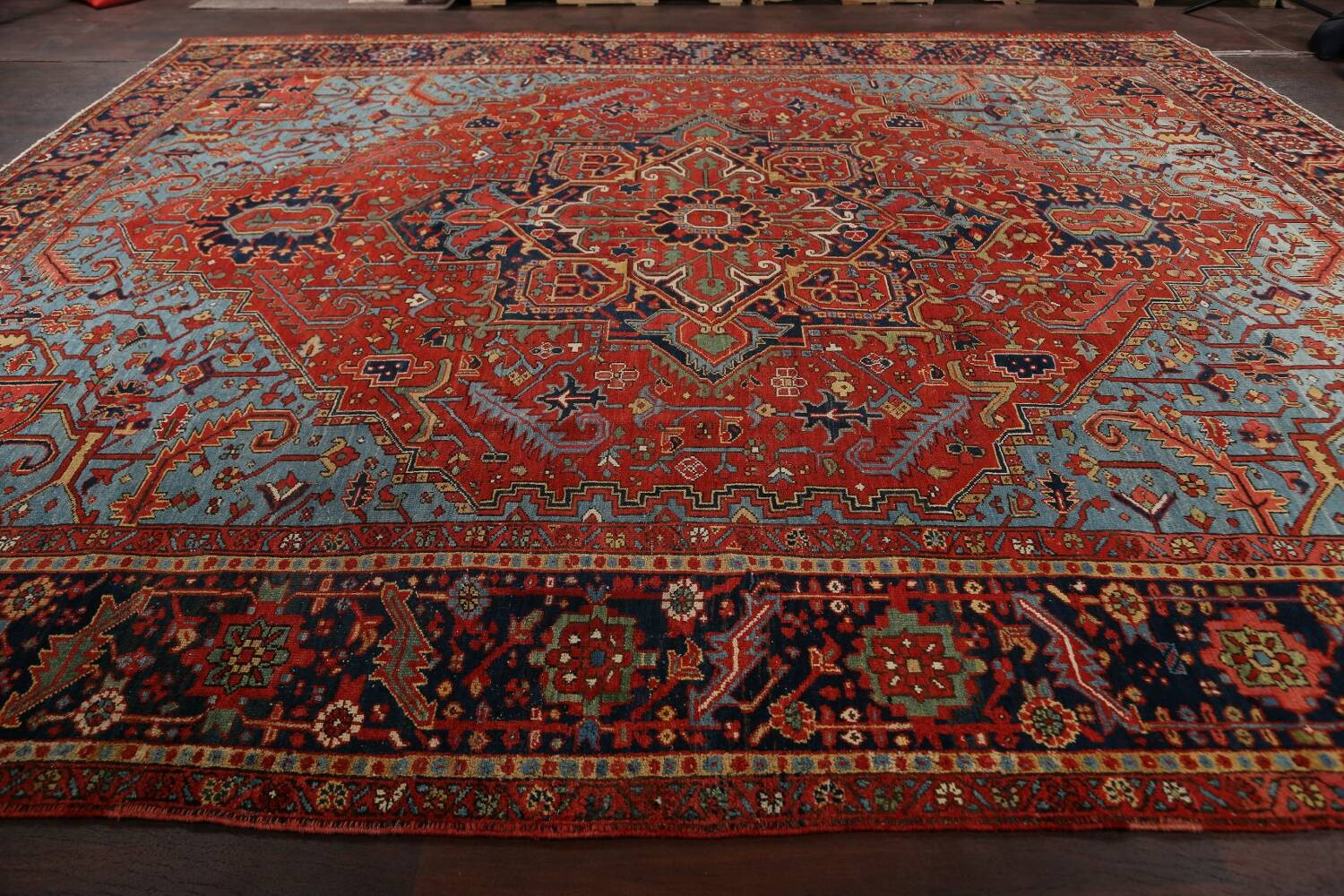 Pre-1900 Antique Vegetable Dye Heriz Serapi Persian Rug 12x14 image 16