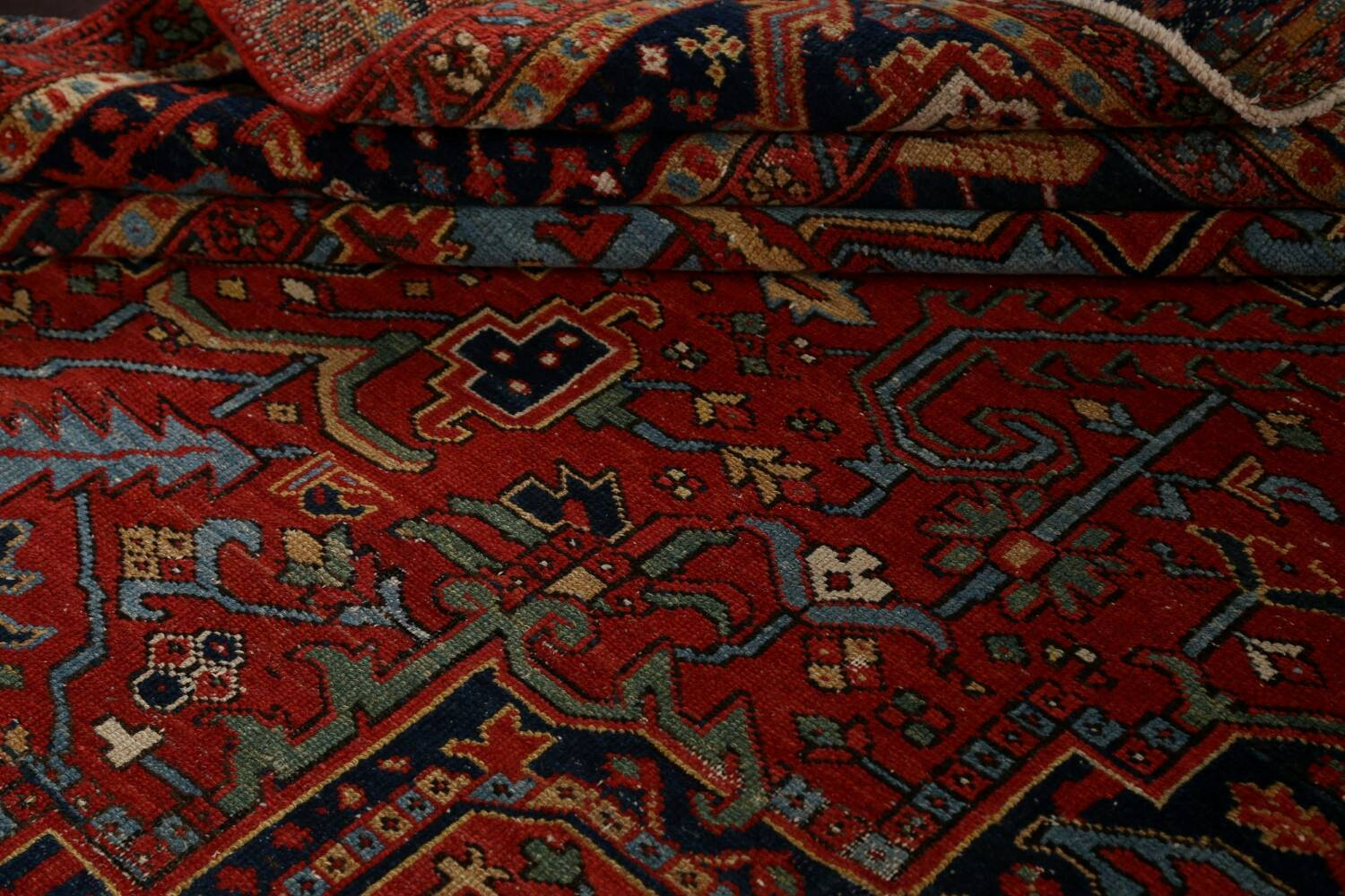 Pre-1900 Antique Vegetable Dye Heriz Serapi Persian Rug 12x14 image 18