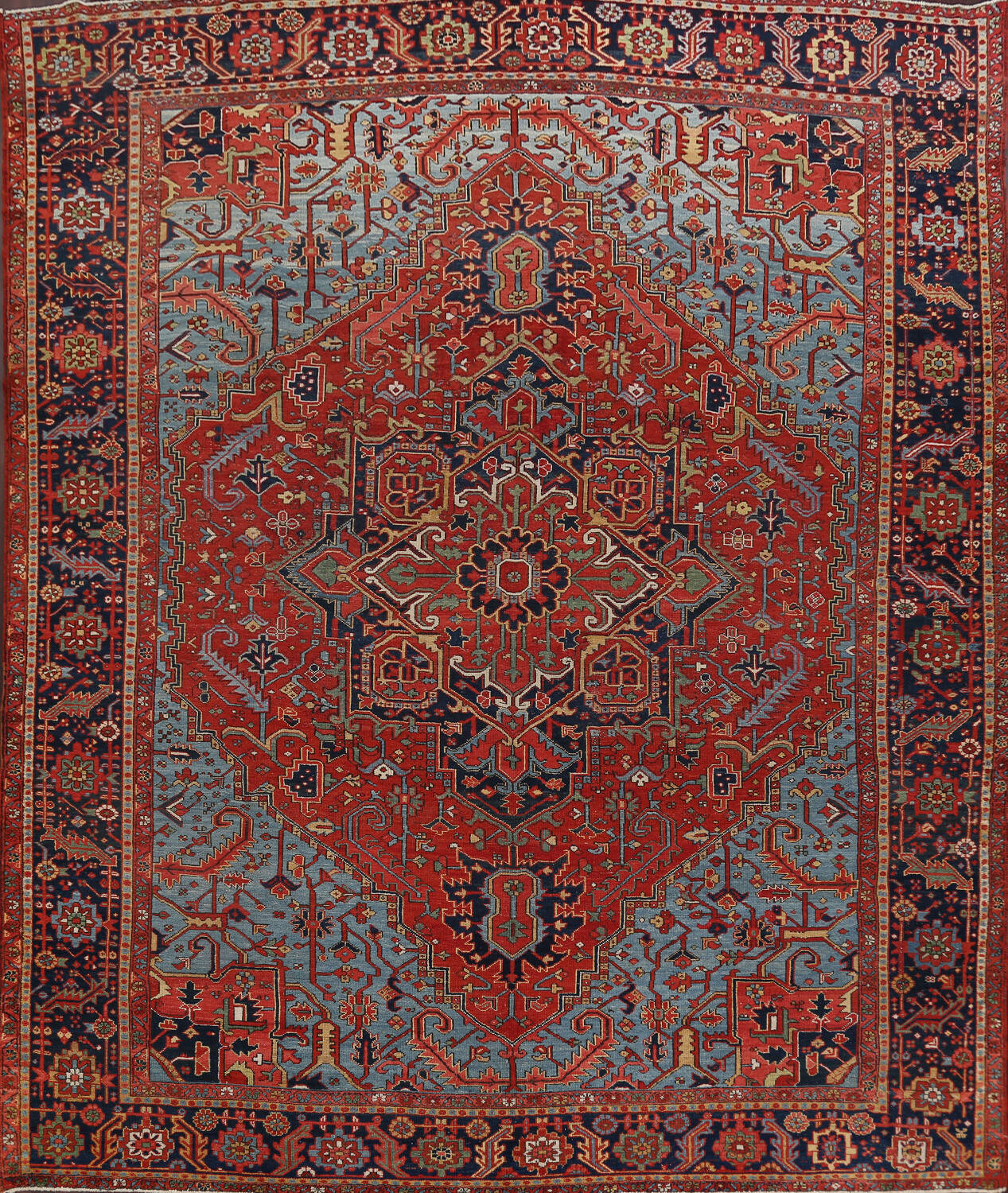 Pre-1900 Antique Vegetable Dye Heriz Serapi Persian Rug 12x14 image 1