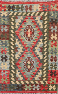 South-Western Geometric Reversible Kilim Oriental Area Rug 3x4