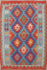 Blue South-Western Kilim Oriental Area Rug 3x5