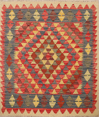 South-Western Reversible Kilim Oriental Area Rug 3x3 Square