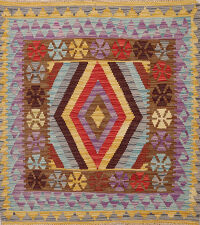 South-Western Diamond Kilim Oriental Area Rug 3x3 Square