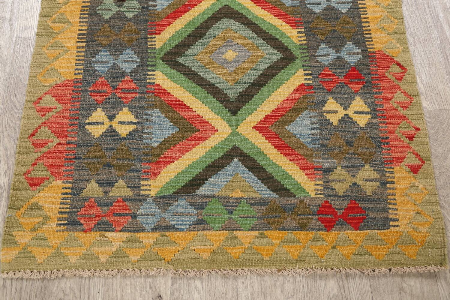 South-Western Reversible Kilim Oriental Area Rug 3x3 Square image 8