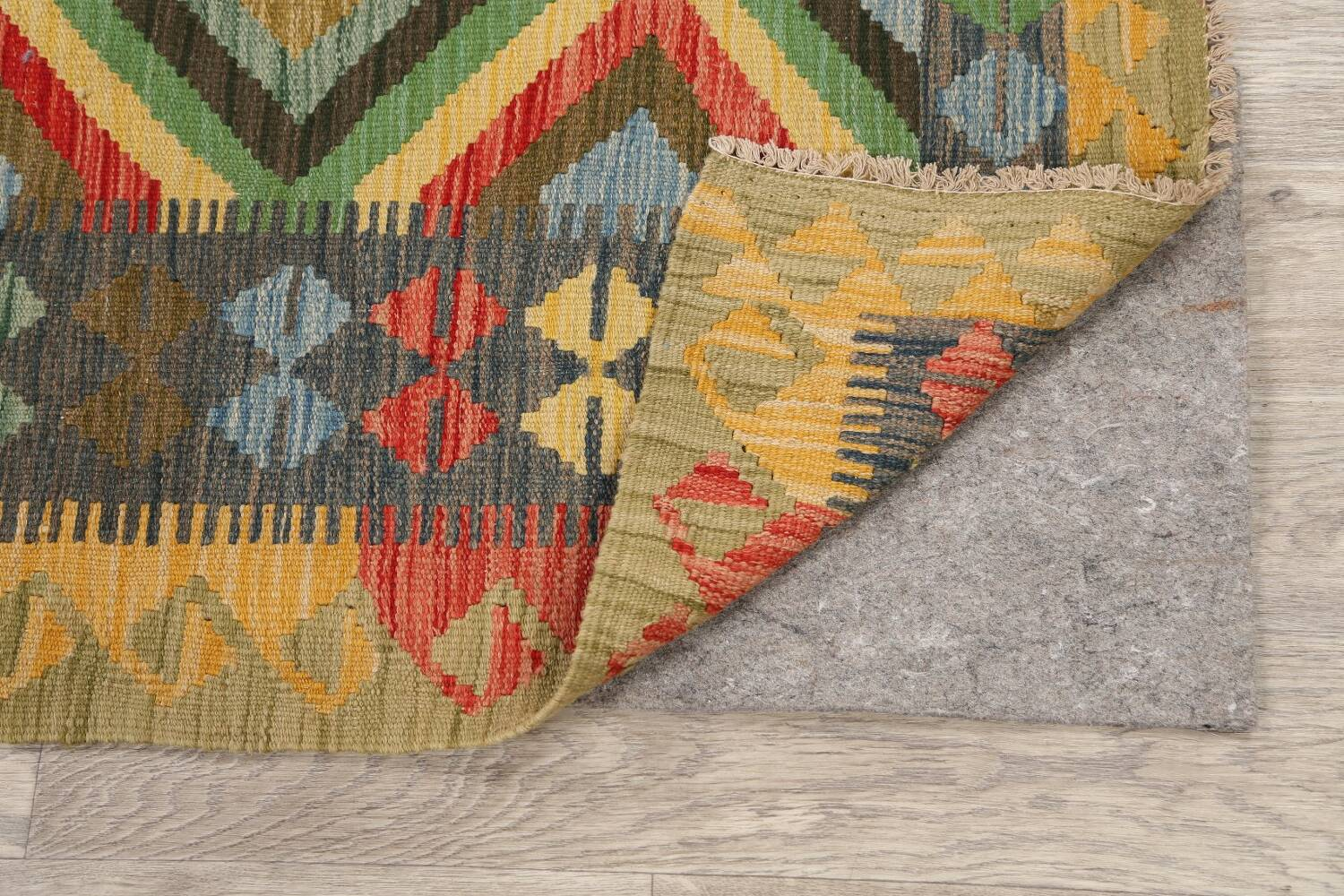 South-Western Reversible Kilim Oriental Area Rug 3x3 Square image 7