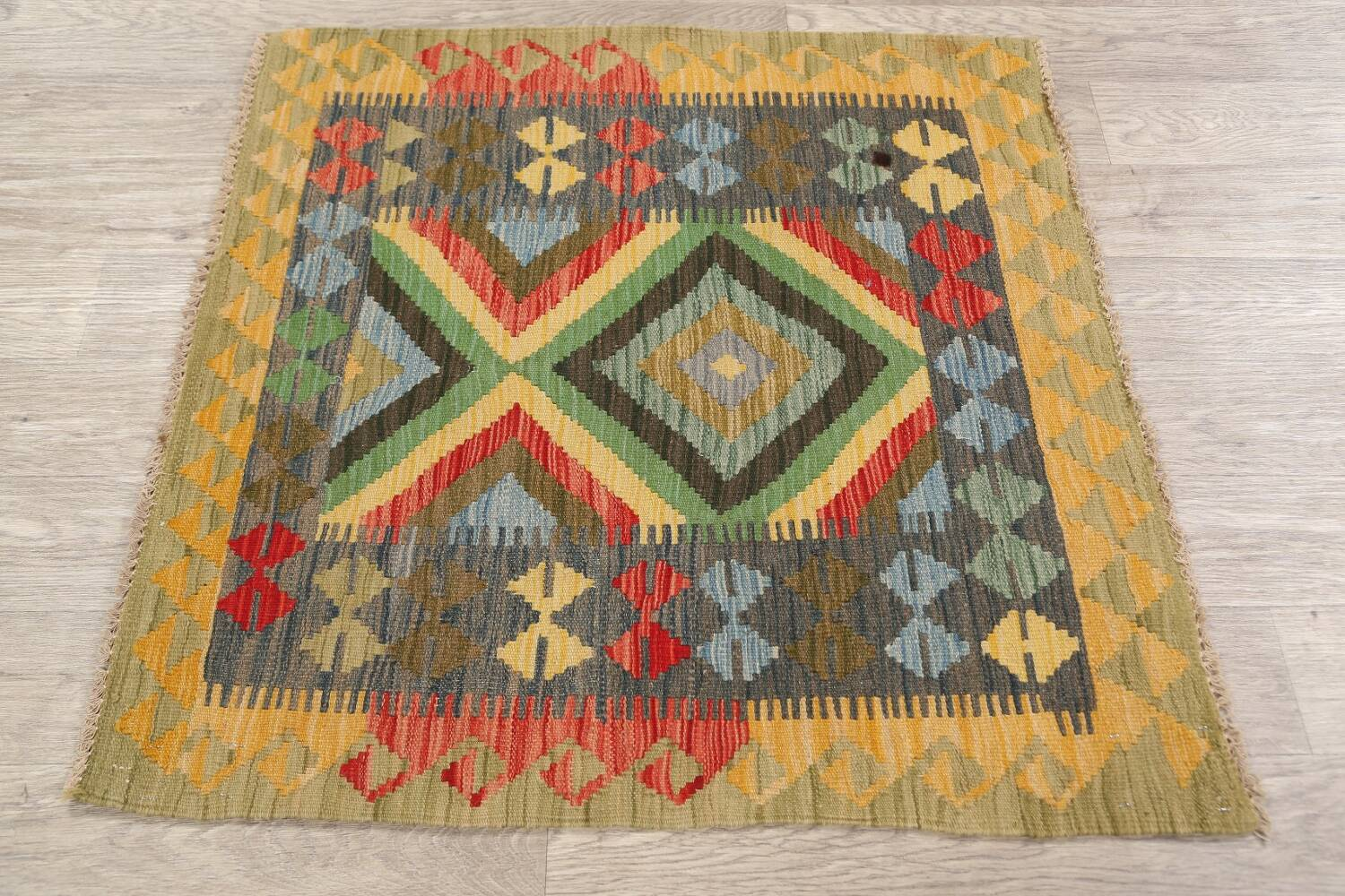 South-Western Reversible Kilim Oriental Area Rug 3x3 Square image 11