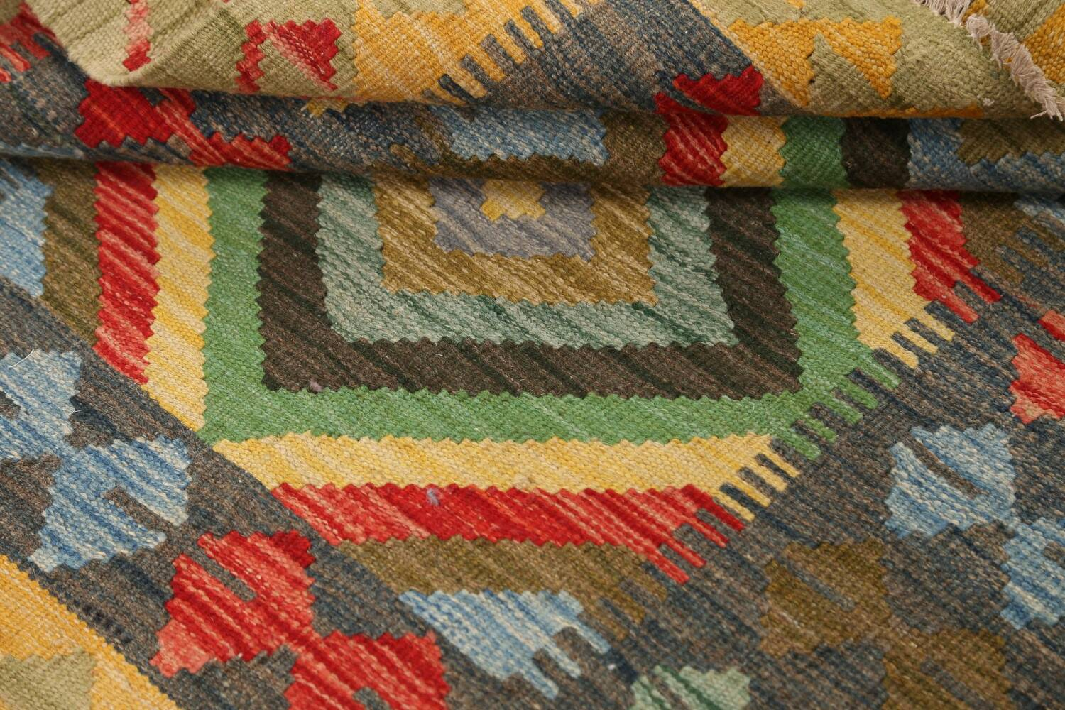 South-Western Reversible Kilim Oriental Area Rug 3x3 Square image 13