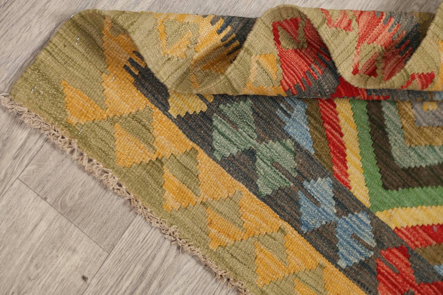 South-Western Reversible Kilim Oriental Area Rug 3x3 Square image 14