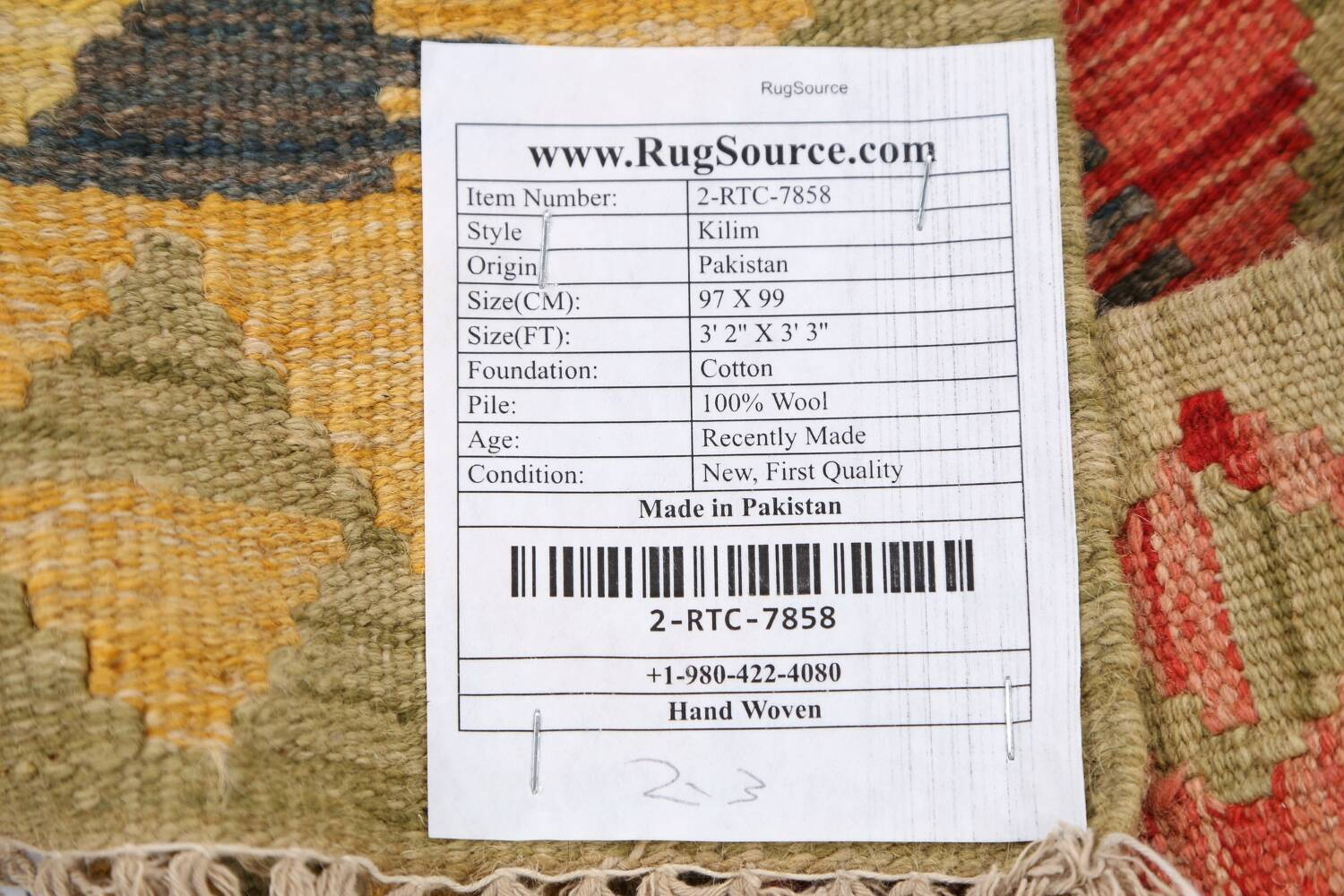 South-Western Reversible Kilim Oriental Area Rug 3x3 Square image 18