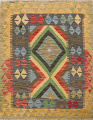 South-Western Reversible Kilim Oriental Area Rug 3x3 Square image 1