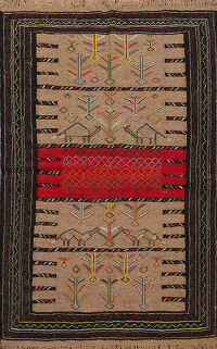 Tribal Sumak Kilim Hand-Woven Persian Area Rug 4x6
