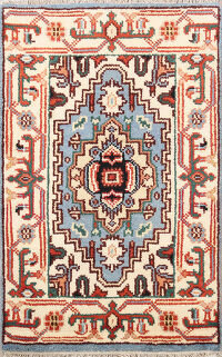 Geometric Heriz Oriental Light Blue Area Rug 2x3