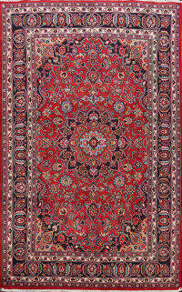 Floral Mashad Persian Red Area Rug 6x10