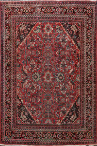 Antique Muted Floral Mahal Persian Area Rug 8x12