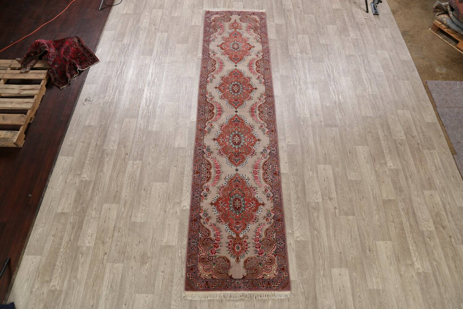 All-Over Floral Tabriz Persian Runner Rug 3x12 image 2