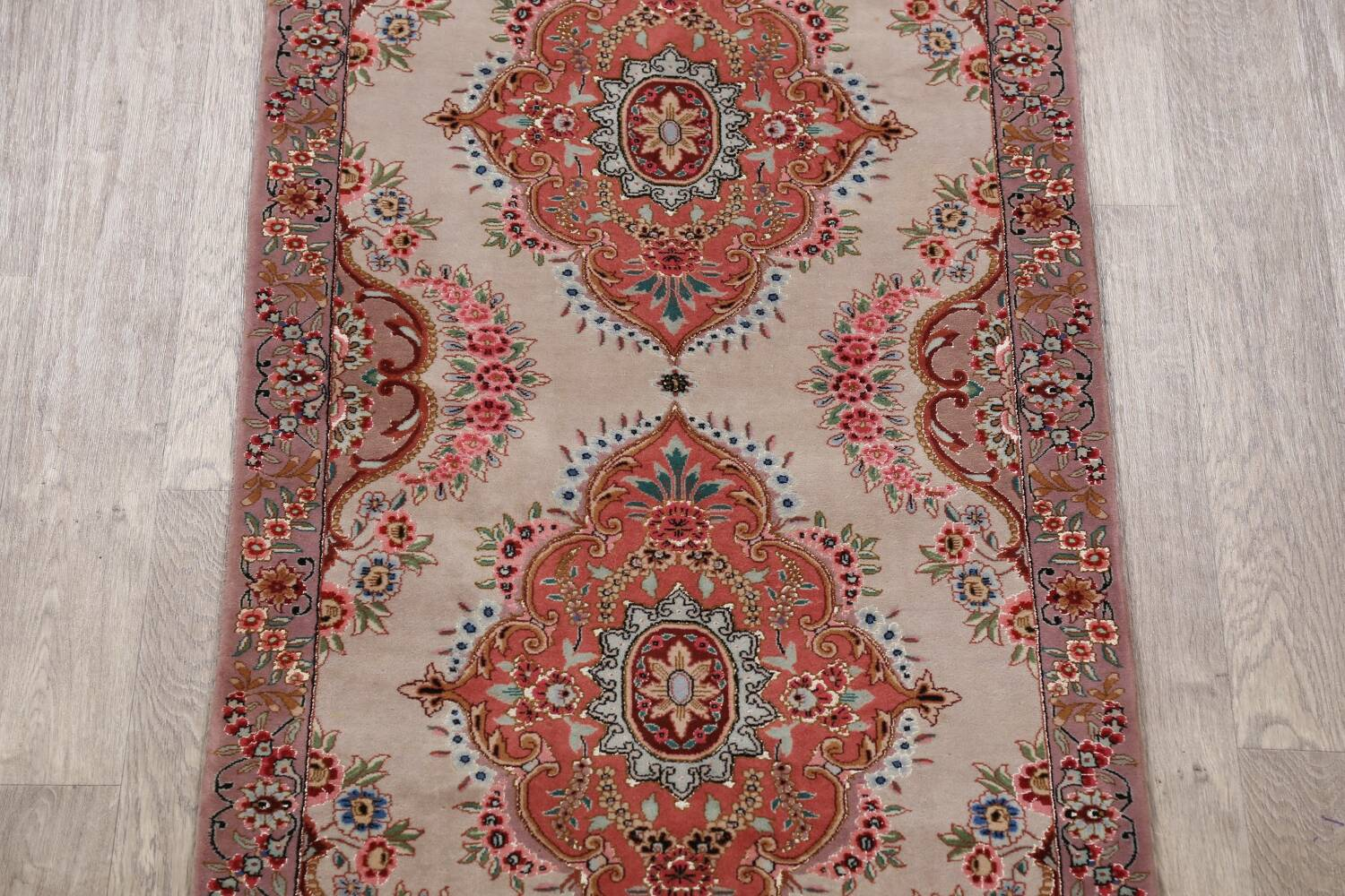 All-Over Floral Tabriz Persian Runner Rug 3x12 image 4