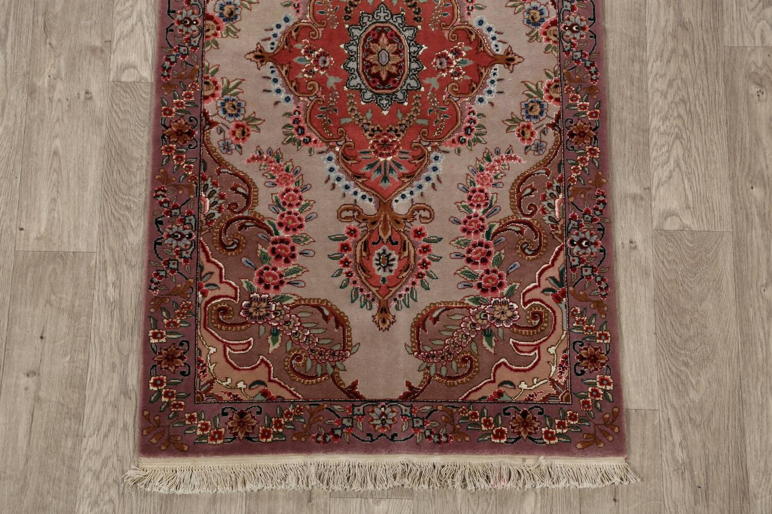 All-Over Floral Tabriz Persian Runner Rug 3x12 image 8