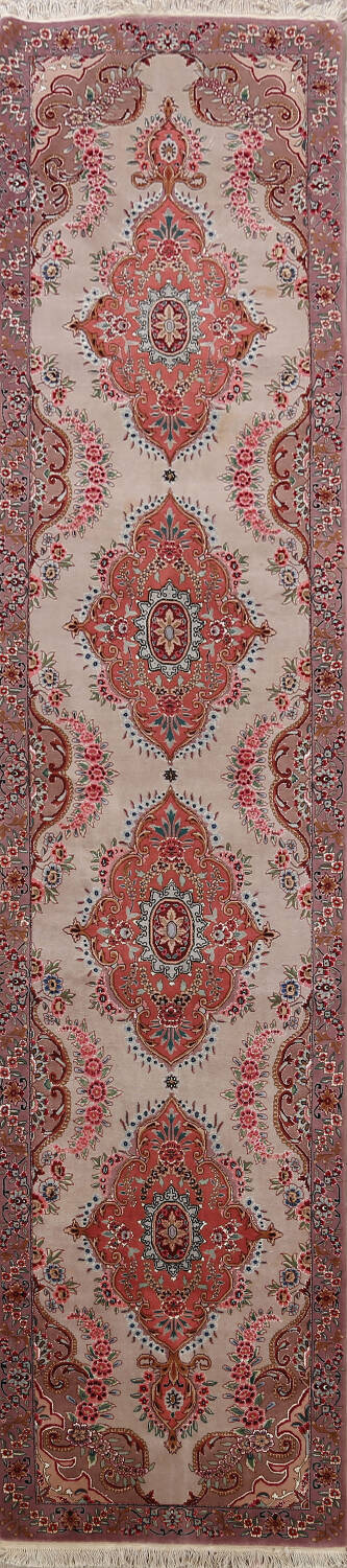 All-Over Floral Tabriz Persian Runner Rug 3x12 image 1