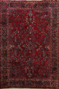 Antique Floral Sarouk Persian Area Rug 9x12
